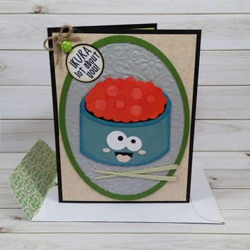 Thinking of You Card, Just Because Card, Ikura Lot About You Handmade Greeting Card, Japanese Food Card, Salmon Roe Card, Cute Sushi Card