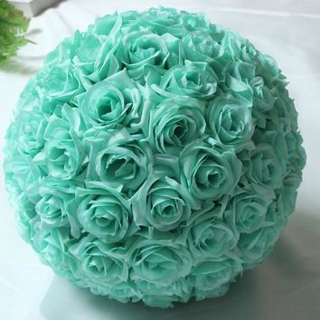 8inch(20cm)Tiffany Blue Wedding Decorations Artificial Rose Silk Flower Ball Centerpieces Mint Decorative Hanging Flower Ball