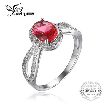 100% 925 Sterling Silver Classic Flower Style Ring Classic Pink Created Sapphire Ring and Best Gift for Women Free Shiping
