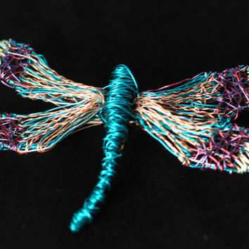 Dragonfly jewelry Wire sculpture Statement jewelry Large brooch Insect jewelry Art brooch Colorful jewelry Dragonfly gift for her Cyan