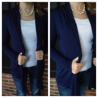 Solid Knit Draped Open Cardigan