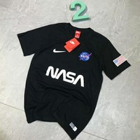 NIKE & NASA New fashion letter print short sleeve top t-shirt Black