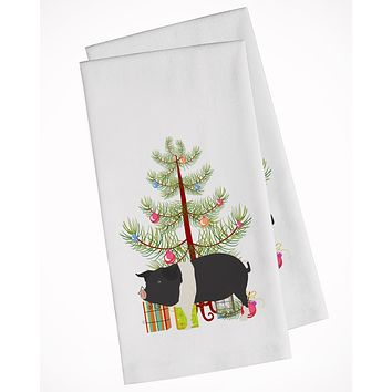 Hampshire Pig Christmas White Kitchen Towel Set of 2 BB9306WTKT
