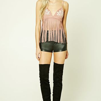 Faux Suede Fringed Top