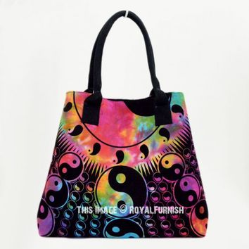 Black  White Yin-Yang Beach Tote Bag for Women on RoyalFurnish.com