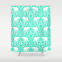Elephant Damask Mint Shower Curtain by Jacqueline Maldonado | Society6