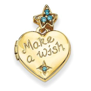 14k Gold 15mm Heart with Blue CZ Make a Wish Locket (Charm Inside Locket)