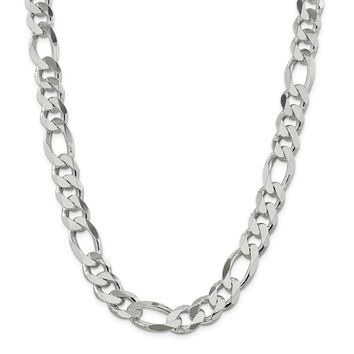 925 Sterling Silver 12.75 to 12.8mm Figaro Chain Necklace, Bracelet or Anklet