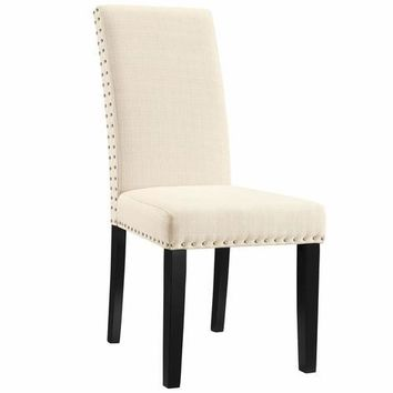 Parcel Dining Fabric Side Chair Beige