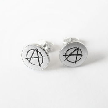 Anarchy Symbol Silver Earrings - Stud Earrings - Small Silver Earrings -  Handmade Earrings - Anarchist d5ce1bf7ae3a