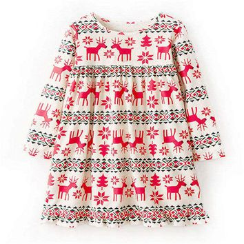 Littlemandy Girls Dress Reindeer 2018 Autumn New Princess Dresses For Girl Kids Baby Girl Clothes Long Sleeve Baby Girl Tunic