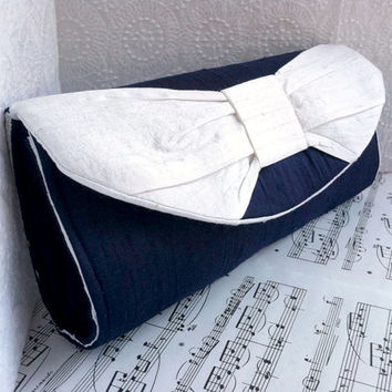 Silk navy blue clutch bag with white bow, nautical clutch