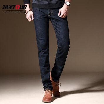 jantour 2017 new luxury Men's brand black jeans men cotton skinny Slim Solid Casual Stretch Denim jean mens long Pants male