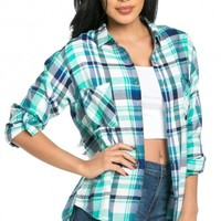 Front Pocket Button Up Plaid Flannel in Blue and Teal