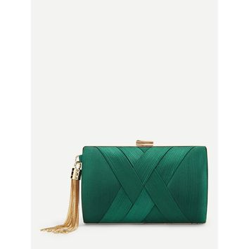 Green Satin Woven Clutch