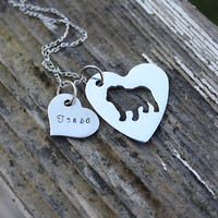 English bulldog heart necklace, bulldog jewelry, personalized, pet jewelry, I love English bulldogs