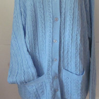 Blue Cardigan Sweater Womens Sz 1X Plus size Clothing  Cardigan Sweater with Pockets   Womens Plus sz Sweater