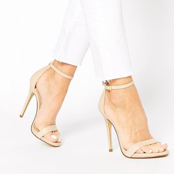 New Look Paz Nude Leather Barely There Heeled Sandals