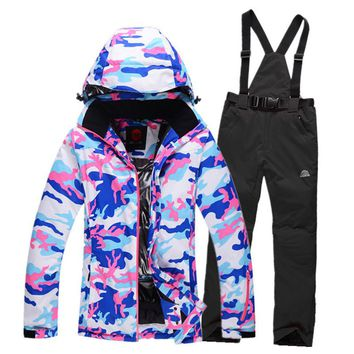camouflage Womens ski suit sets outdoor sports skiing costume windproof therma ski snowboard Clothing jackets + bib pants Cheap