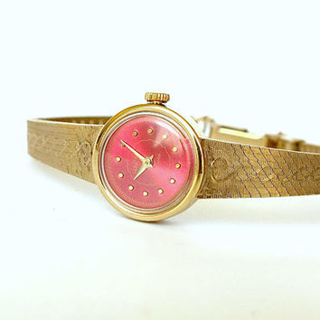 Bracelet Watch Chaika (Seagull). Vintage Ladies Mechanical Watch. Gold Plated Watch Bracelet For Women. Red Dial Cocktail Watch. Gift Her.