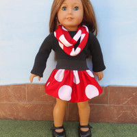 18 Inch Doll Red Polka Dot Bubble Skirt, Matching Infinity Scarf, Black Leotard, Winter Doll Clothes, fits American Girl Dolls