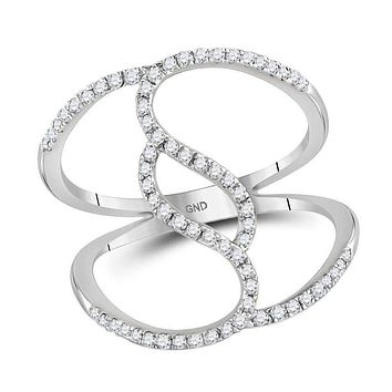 10kt White Gold Womens Round Diamond Open Strand Wide Band Ring 1-3 Cttw