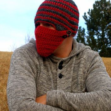 Chrocheted Button Face Mask Beanie by Idyllically on Etsy