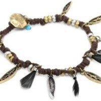NINE WEST VINTAGE AMERICA Oxidized Brass-Tone Feather Bracelet: Jewelry: Amazon.com