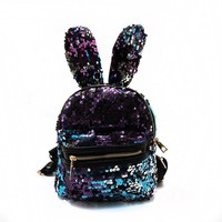Cute Long rabbit ears Women Bling Bling Backpacks Brand Designer Fashion Sequins Backpack Preppy Style Girl's School Bags 559