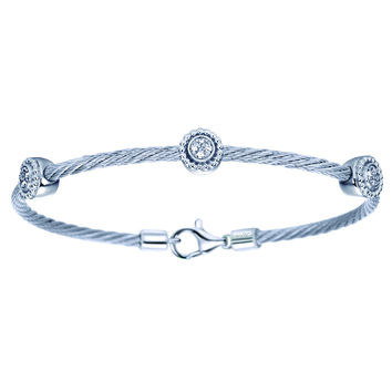 Gabriel Three Station Diamond Stainless Steel Cable Bangle Bracelet