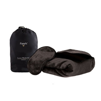 PurseN Travel Blanket Set with Carry Bag
