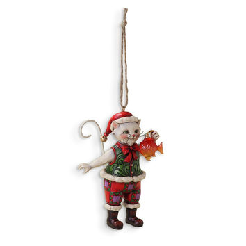 Jim Shore Christmas Cat with Fish Ornament