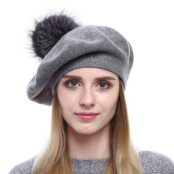 DCK4S2 Queenfur Women Wool Beret - Real Silver Fox Fur Pom Pom Beanies Winter Knit Cashmere Hats