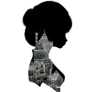 """CharmaineOlivia - """"Little Houses Silhouette"""" Limited Edition Print"""