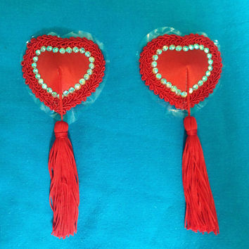 Crystal Burlesque Pasties, Red Heart Nipple Tassels