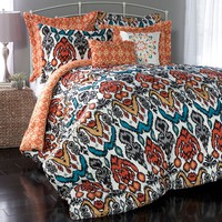 Lush Decor Jaipur 7-pc. Reversible Comforter Set (Orange)
