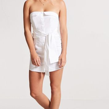 Strapless Tie-Waist Shirt Dress