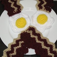 Crocheted Bacon and Eggs Scarf, Great for Gifts, Halloween Costumes, Foodies, Chefs, Unique, Conversation Starter, Made to Order