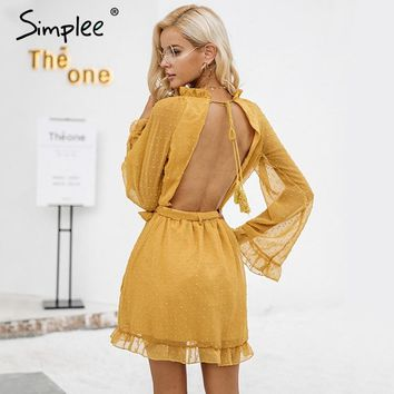 Simplee Lace up backless mesh dress women Elegant stringy selvedge sash mini dress Fashion long flare sleeve dresses vestidos