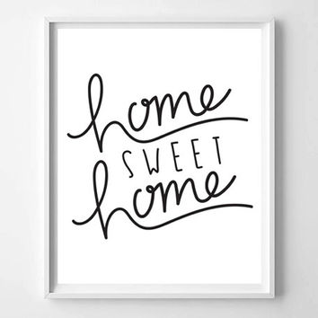 Home Sweet Home quote illustration typography print home decor college dorm room prints posters