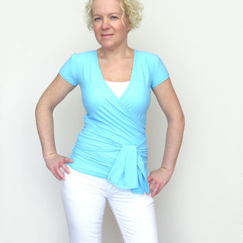 Yoga wrap top blue convertible top baby blue blouse wraptop