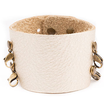 Platinum Wide Leather Cuff - Lenny and Eva