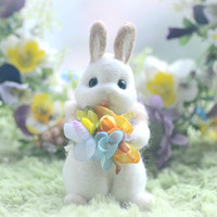Needle felt white rabbit doll, handmade bunny figurine, mini bunny with flower bouquet pocket doll, easter decor, kids gift, gift under 30