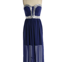 Northern Lights Sequin Maxi Dress - Navy + Silver