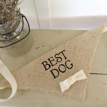 Ivory Best Dog Boy Bowtie Dog Collar Bandana Rustic Burlap Wedding Photo Prop