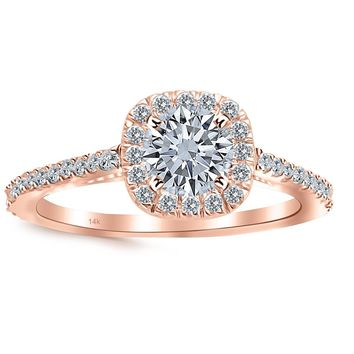 CERTIFIED | 1.01 Carat Gorgeous Classic Cushion Halo Style Diamond Engagement Ring 14K White Gold with a 0.63 Carat I-J I2 Round Brilliant Cut/Shape Center (Yellow, White, Rose)