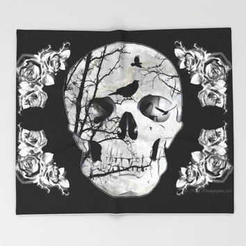 Gothic Skull Crow Rose A353 Throw Pillow by Nicol Photographic Art