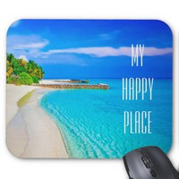 Tropical island with palm beach mousepad