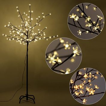 Costway Christmas Xmas Cherry Blossom LED Tree Light Floor Lamp Holiday Decor Warm White | Overstock.com Shopping - The Best Deals on Floor Lamps