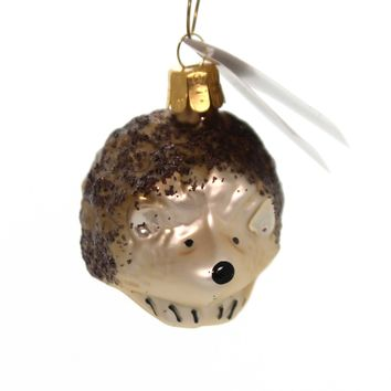 Golden Bell Collection GLITTERED HEDGEHOG Glass Ornament Czech Animal An463